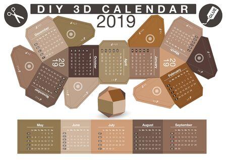 3d DIY Paper Ball Calendar - 2019 Vettoriali