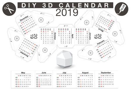 Calendrier 3d de boules de papier bricolage - 2019