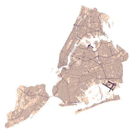 High Detailed New York City Roadmap
