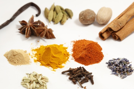 Spice collection isolated on white background photo