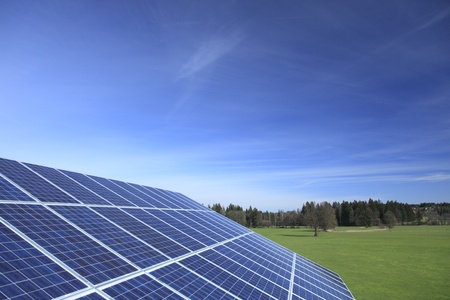 landscape with blue solar panel and blue sky Stock Photo - 9636686