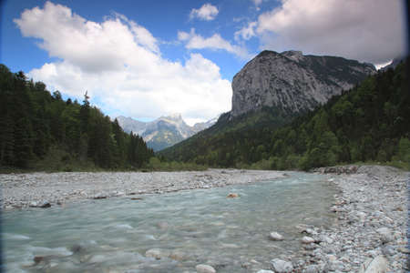 little river in austrian Engtal with Karwendel mountains Stock Photo - 9678425