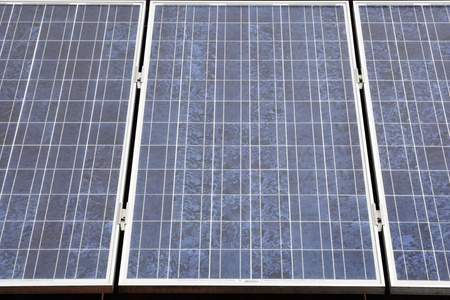 Photovoltaic installation in row with metal frames Stock Photo - 9678416