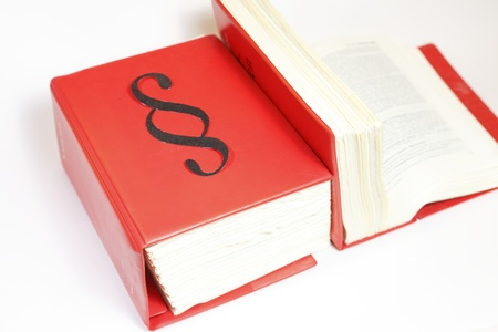 Two law books with red cover with white background