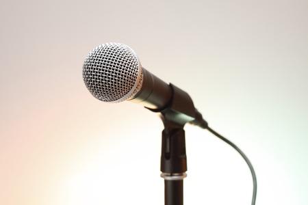 zilver MICROPHON op stand.close-up shot