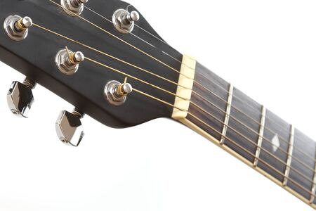View of the top of a black electric guitar with copy-space photo