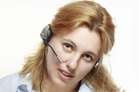 Beautiful business woman with headset. Call center. photo