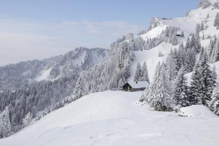 een skigebied in Duitsland, Beieren. Winterlandschap Stockfoto