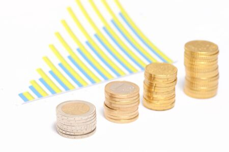 An illustration of coins forming upward chart  Stock Illustration - 12338408