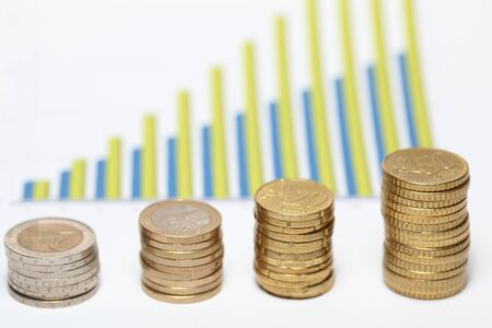 An illustration of coins forming upward chart Stock Illustration - 12338410