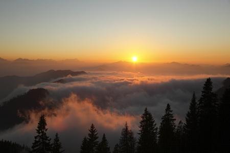 sundown on the karwendel mountains in bavaria Stock Photo