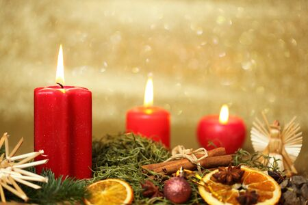 candle light decoration for christmas and advent photo