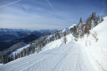 empty piste on a skiing resort in bavaria photo