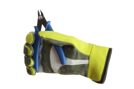 flat nose: a glove is holding a blue cutter