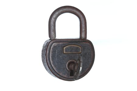 closed padlock isolated on white with key Stock Photo - 18201176