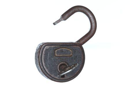 open padlock isolated on white with key Stock Photo - 18201216