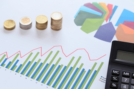 market analysis with money and calculator and diagram photo