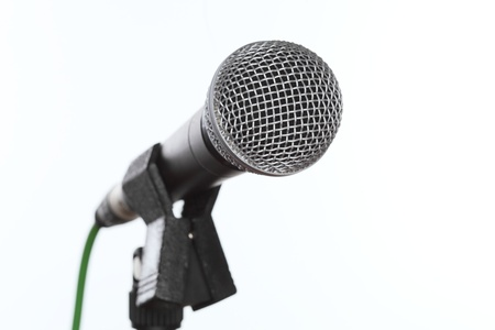 close up shot of a microphone on white background Stock Photo