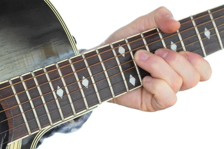 hand is playing with a western guitar on white background Stock Photo - 18544354