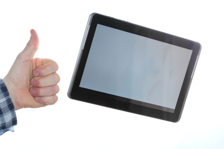 hand and mobile tablet computer with white background photo