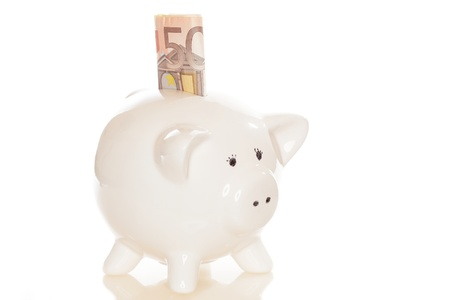 caretaking: save money with piggy bank and white background