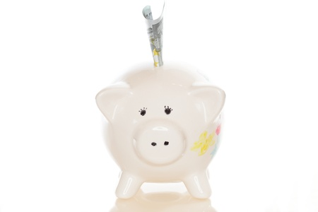 small piggy bank with banknote on white background