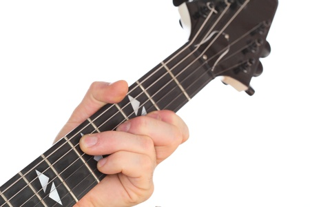 a hand is holding a guitar and play with it photo