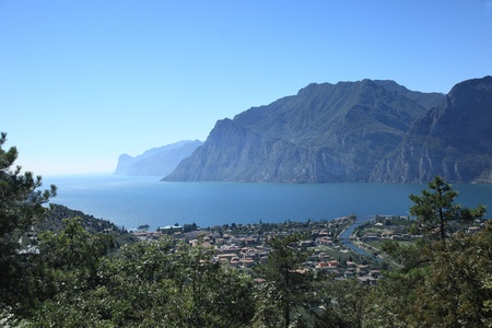 view to lake garda in italy with blue sky photo