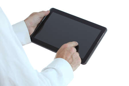 man is working with mobile pad computer photo