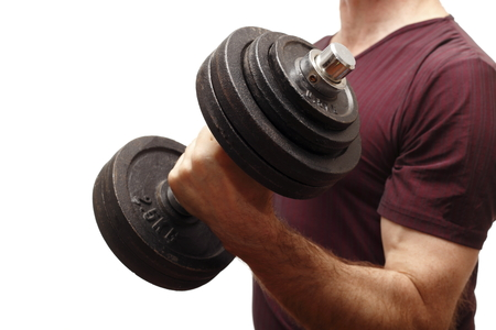 man and big dumbbell for exercise closeup photo