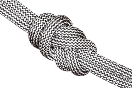 quadruple: sloped eight knot close up on white background