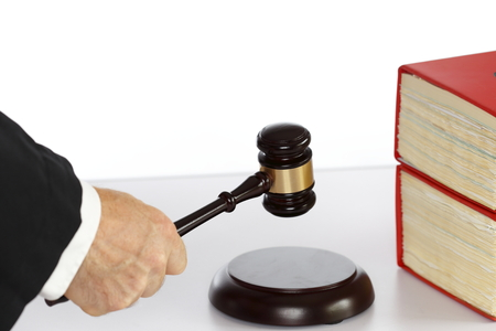 justice work place with gavel and book photo