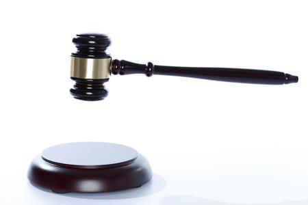 symbolic: gavel on white background for symbolic court Stock Photo