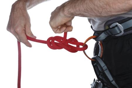 knotting: uno scalatore � annodando una corda con le mani