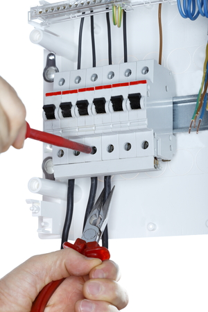 circuit brake: working on an electric junction with white background