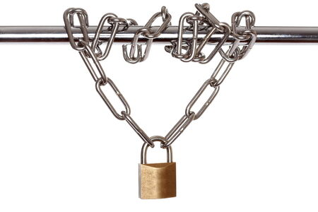 locked up: locked up with chain and white background
