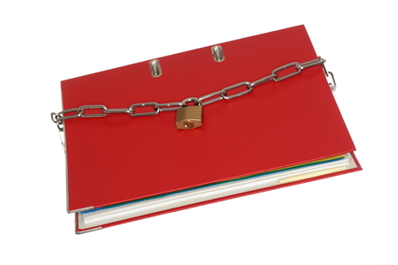 store keeper: red file folder with chain and padlock Stock Photo