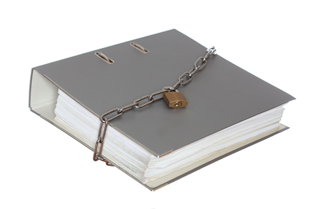 grey file folder with chain and padlock on white background photo