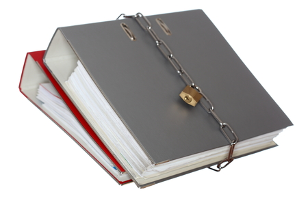store keeper: two file folder with chain and padlock closed