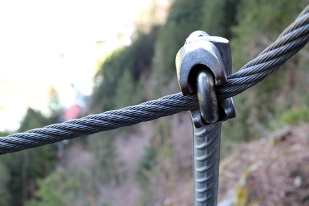 steel cable with mounting in nature, rope way photo