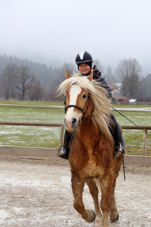fast horse: smiling girl is riding on a fast horse