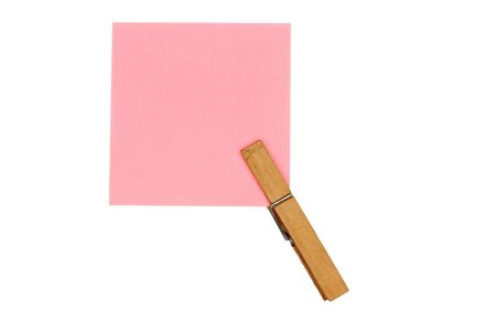 peg: rose paper with peg on white background