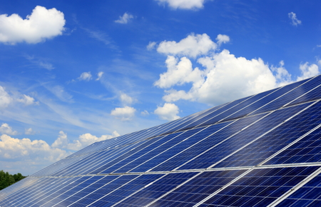 generate: many blue solar panels to generate power Stock Photo