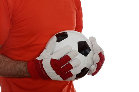 goal keeper: goal keeper with soccer ball in hands Stock Photo