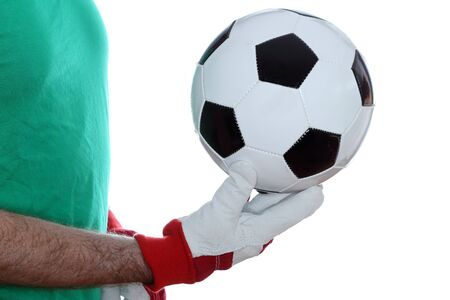 goal keeper: goal keeper with gloves takes a ball