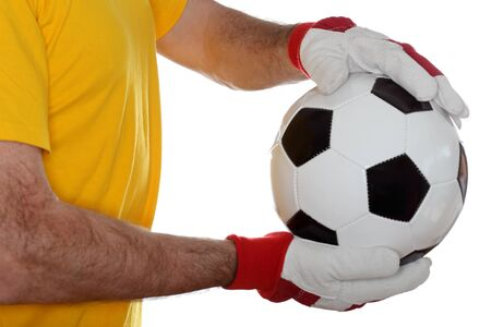 arquero: portero con trikot amarillo y bal�n de f�tbol