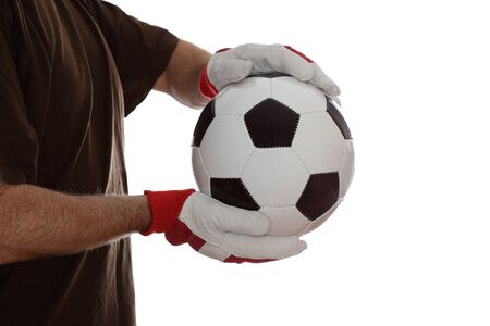 goal keeper: goal keeper catch a ball on white background