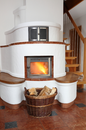 wood burner: burning stove in living room of a house
