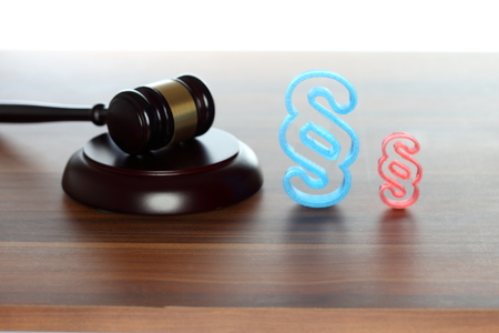 court room symbol with gavel and paragraph Stock Photo