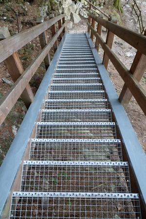 achievment: stairway with metal stairs in the nature